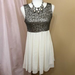 Forever 21 sequined and cream party dress. Sm